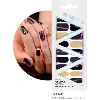 Gel Nail Strips Bling Wave Purple 20pcs {VAVACOCO}